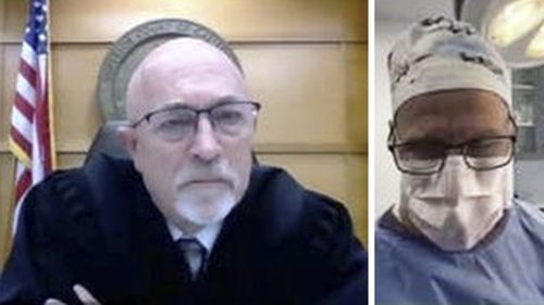 A zoom video conference collage captured by The Sacramento Bee, shows Dr. Scott Green right appearing on a video call in court.
