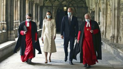 Prince William and Kate, Duchess of Cambridge with Dean of Westminster The Very Reverend Dr David Hoyle, right, and Paul Baumann, Receiver General and Chapter Clerk, arrive for a visit to the vaccination centre at Westminster Abbey, London, Tuesday, March 23, 2021 to pay tribute to the efforts of those involved in the Covid-19 vaccine rollout