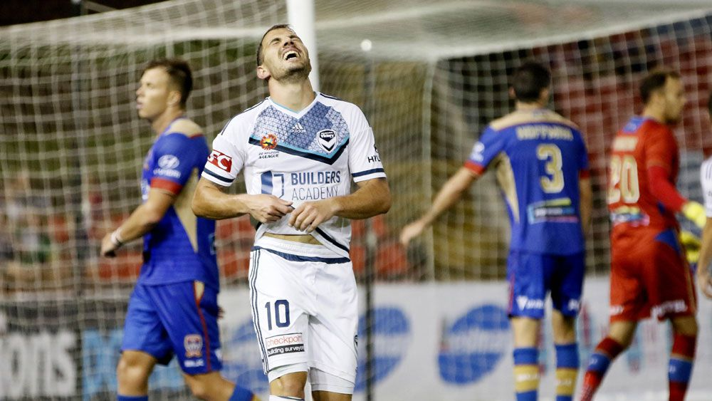 Melbourne Victory's James Troisi reacts to a near miss against the Newcastle Jets. (AAP)