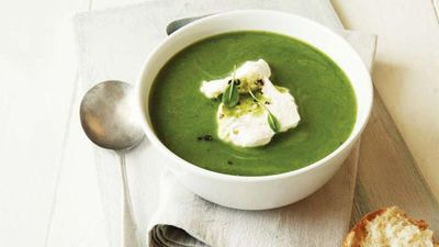 "Recipe: <a href=""http://kitchen.nine.com.au/2016/05/16/12/40/minted-pea-soup"" target=""_top"">Minted pea soup</a>"