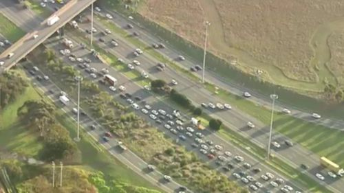 The dramatic incident has brought traffic to a stand-still. (9NEWS)