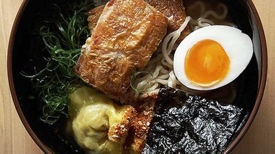 """Recipe:&nbsp;<strong><a href=""""http://kitchen.nine.com.au/2016/05/05/11/29/supernormal-ramen-with-chicken-in-broth-with-soy-eggs"""" target=""""_top"""" draggable=""""false"""">Supernormal ramen with chicken in broth with soy eggs</a></strong>"""