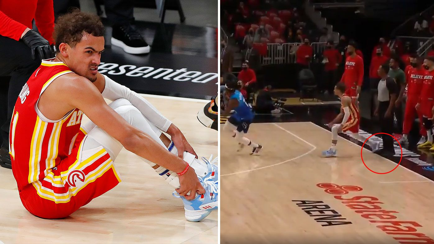 Trae Young fumes after hurting ankle by stepping on referee's foot in Game 3 loss to Milwaukee