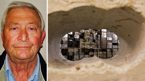 Terry Perkins and the 50cms reinforced concrete wall the gang drilled through to reach safety deposit boxes at Hatton Garden. (Photos: AP).