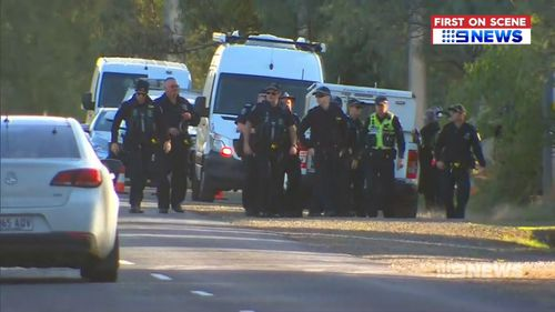 Police at the Hillier property. Picture: 9NEWS