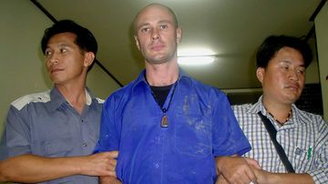 Jason Mizner pictured during his 2006 arrest in Thailand.