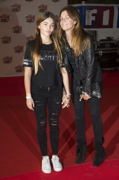 Thylane Blondeau and her mother, Veronika Loubry.<br /> Cannes, November 2015.