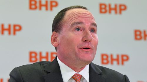 BHP Chairman Ken MacKenzie speaks during a press conference at BHP headquarters in Melbourne.