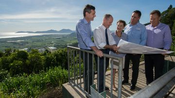 Queensland Premier Campbell Newman discusses plans for the Kuranda Range upgrade with (L-R) Gavin King,  Member for Cairns; Robyn Quick, Candidate for Mulgrave; David Kempton, Member for Cook and Michael Trout, Member for Barron River.