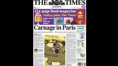 UK newspaper <em>The Times</em> ran 'Carnage in Paris'.