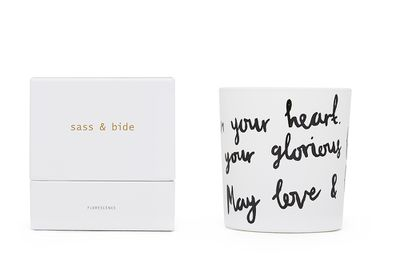 "<a href=""https://www.sassandbide.com/au/"" target=""_blank"">Love Notes candle, $90, Sass and Bide</a>"