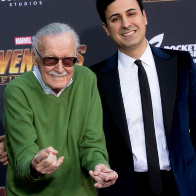 Stan Lee and Keya Morgan attend the 'Avengers: Infinity War' World Premiere on April 23, 2018.