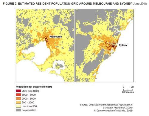 Estimated resident population grid around Melbourne and Sydney.
