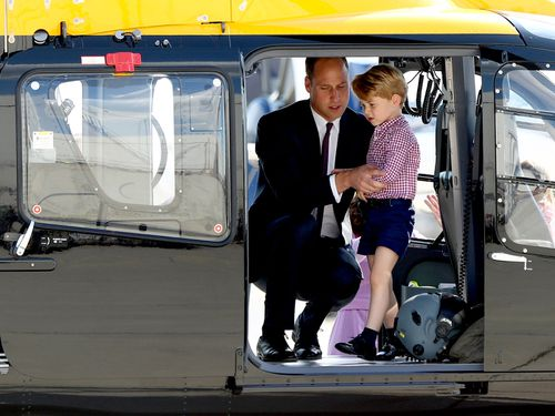 Prince's George's early birthday treat on board a helicopter in Hamburg.