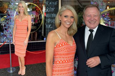 <i>Nine News</i> weather girl Livinia Nixon wore summery orange number, seen here with Peter Hitchener.