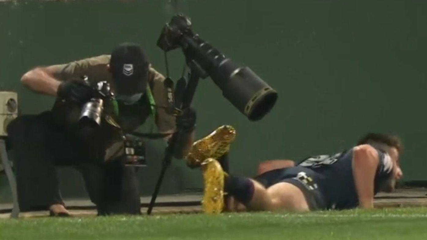 Legendary NRL snapper left 'nursing a cork' after collision with Paul Momirovski