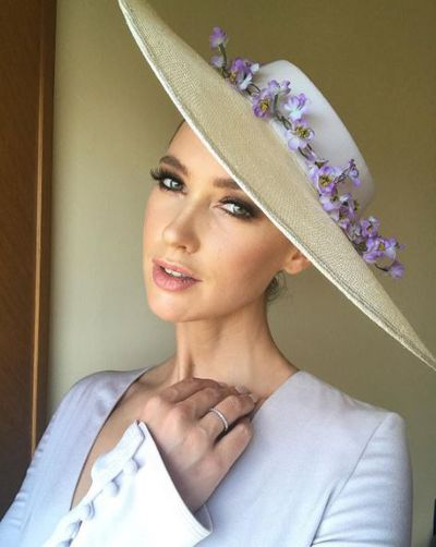 <p>Nikki Phillips preparing for Oaks Day in Misha Collection and Anne Shoebridge.</p>