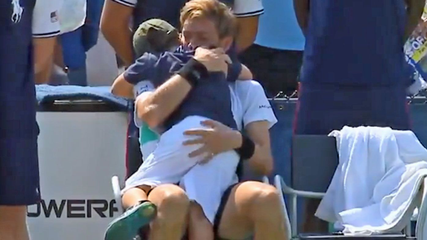 Nicolas Mahut hugged by son after US Open qualifying loss to Tommy Robredo