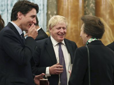 Princess Anne with Justin Trudeau and Boris Johnson at the NATO reception.