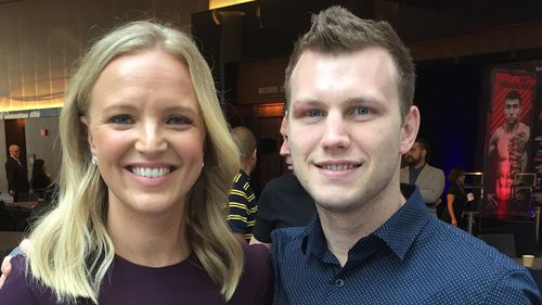 Alexis Daish spoke to Jeff Horn in the US. (9NEWS)