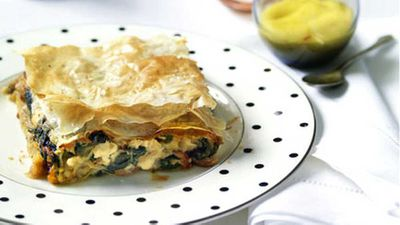 "Recipe:&nbsp;<a href=""http://kitchen.nine.com.au/2016/05/17/13/28/rabbit-spanakopita"" target=""_top"">Rabbit 'spanakopita'</a>"