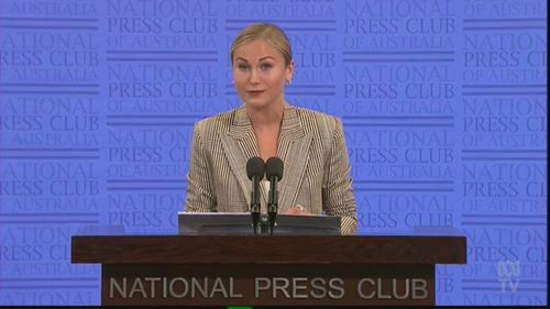 Grace Tame addresses the National Press Club.