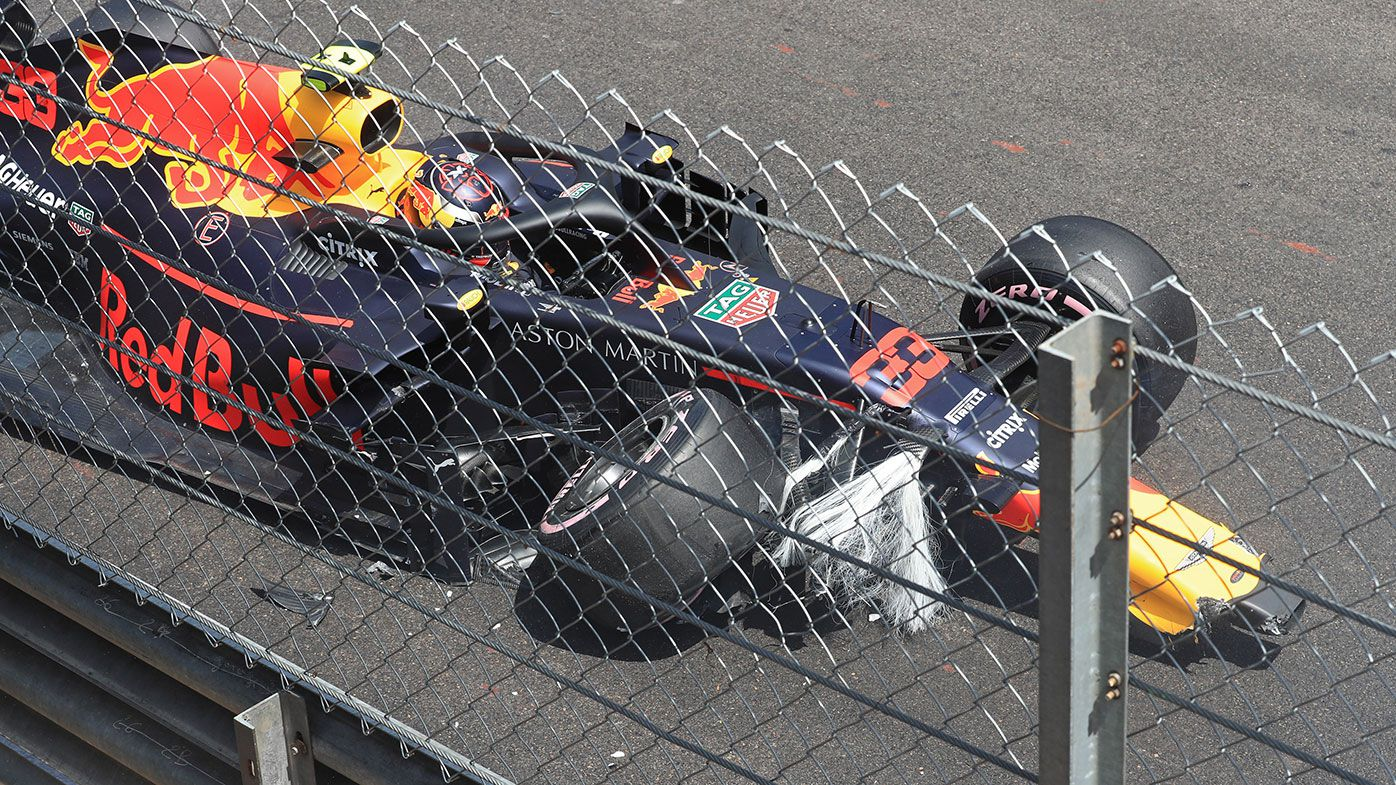 Max Verstappen crashes during practice for the Monaco Grand Prix