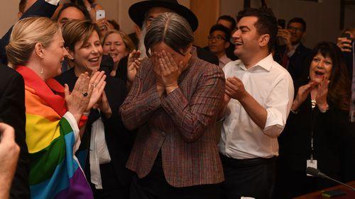 Senator Penny Wong breaks down as she hears the verdict.