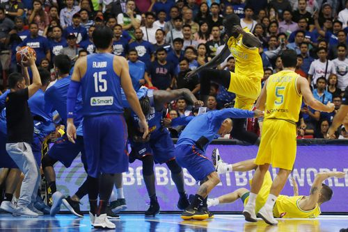 "Basketball Australia has since condemned the actions of both Australian and Filipino players, but said the involvement of officials and fans in the affray is ""unacceptable"". Picture: AAP."