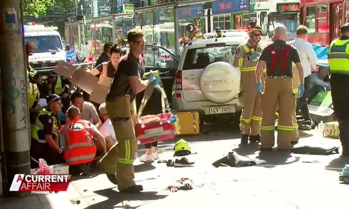 Melbourne's hospitals were sent into chaos when a driver ploughed into passengers on Flinders street last December.