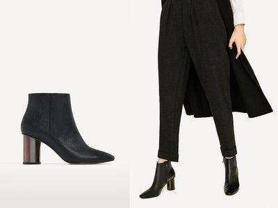 "<a href=""https://www.zara.com/us/#utm_referrer=https%3A%2F%2Fwww.google.com.au%2F"" target=""_blank"" draggable=""false"">Zara Ankle Boot with Metal Heel, $69.95.</a><br /> Solid heel for chasing children and leather at that price. Winning."