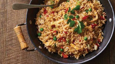 "Recipe:&nbsp;<a href=""http://kitchen.nine.com.au/2017/06/27/09/14/vegetarian-fried-rice"" target=""_top"">Vegetarian fried rice</a>"
