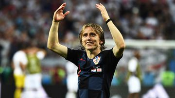 Luka Modric celebrates Croatia's victory.