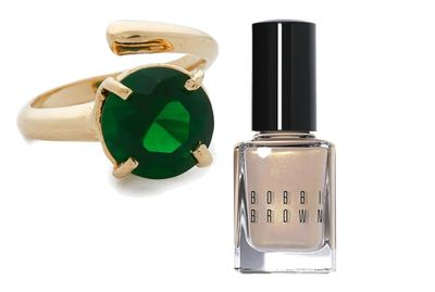 "<p><a href=""http://www.shopbop.com/phalange-brilliant-cut-cocktail-ring/vp/v=1/1563787289.htm?fm=search-viewall-shopbysize&os=false"" target=""_blank"">Ring, $583.56, Bijules at Shopbop</a>, and<a href=""http://shop.davidjones.com.au/djs/en/davidjones/raw-sugar-shimmer-nail-polish"" target=""_blank"">Raw Sugar Shimmer Nail Polish, $26, Bobbi Brown</a>.</p>"