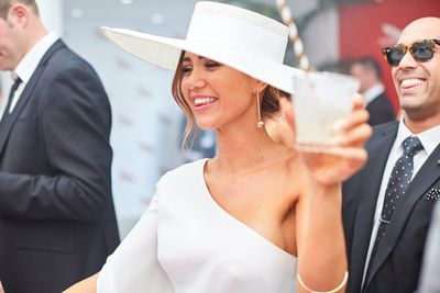 <p>7) Big brims</p> <p>Give crowns a rest and go full brim</p> Pia Muehlenbeck in Carla Zampatti and Ann Shoebridge hat on Derby Day.