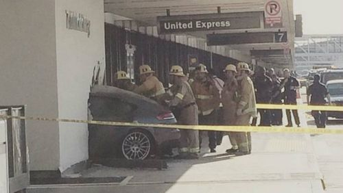 Car slams into departures lounge at LAX