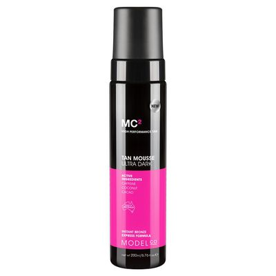 "<a href=""https://www.modelcocosmetics.com/shop/tanning/mc2-ultra-dark-tanning-mousse-200ml"" target=""_blank"" title=""Model Co Self-Tan Mousse- Ultra Dark 200ml, $20"">Model Co Self-Tan Mousse- Ultra Dark 200ml, $20</a>"