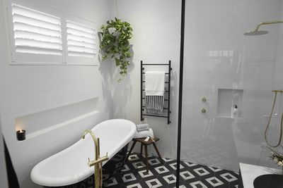 """""""I love that pattern,"""" said Shaynna of the floor tiles."""