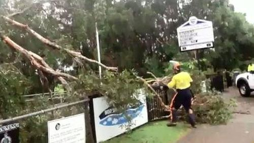 The clean up begins at Mooloolaba State School on the Sunshine Coast after a waterspout hit the area. (9NEWS)