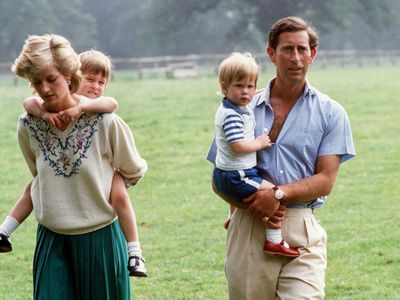 Prince Charles with Princess Diana and young William and Harry