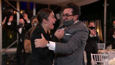 Schitt's Creek celebrate Emmy Awards win