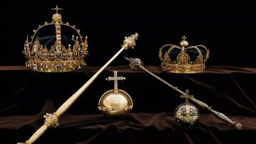 The crowns of King Charles IX and Queen Christina, as well as the stolen royal orb. (The Swedish Police)