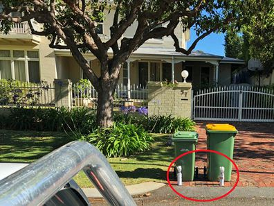 Australian home leaves bins with gift at Christmas