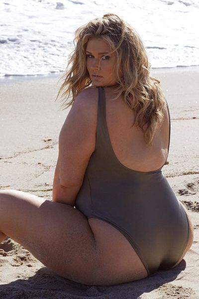 "<a href=""https://www.playfulpromises.com/collections/hunterxplayful/products/hunter-mcgrady-khaki-high-leg-low-cut-swimsuit"" target=""_blank"">Hunter McGrady Plus Size /Curve Khaki High Leg Low Cut Swimsuit, $67</a>"