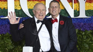 This June 9, 2019 file photo shows playwright Terrence McNally, left, and Tom Kirdahy at the 73rd annual Tony Awards in New York