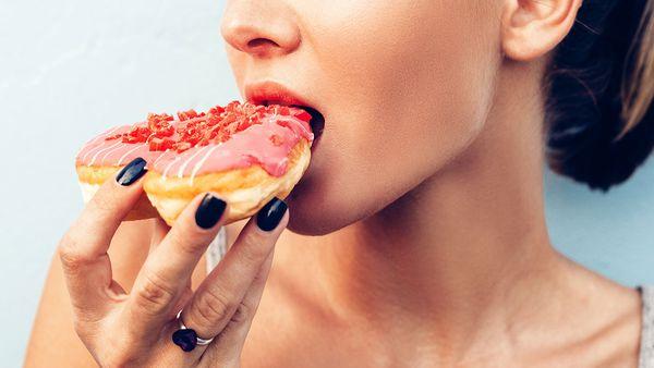 Eating doughnut