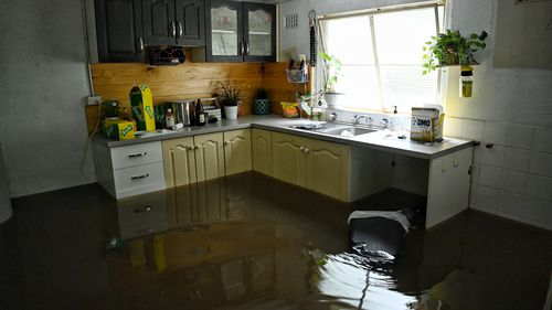 A flooded house in Arndell St, Windsor near the Hawkesbury River in Sydney.