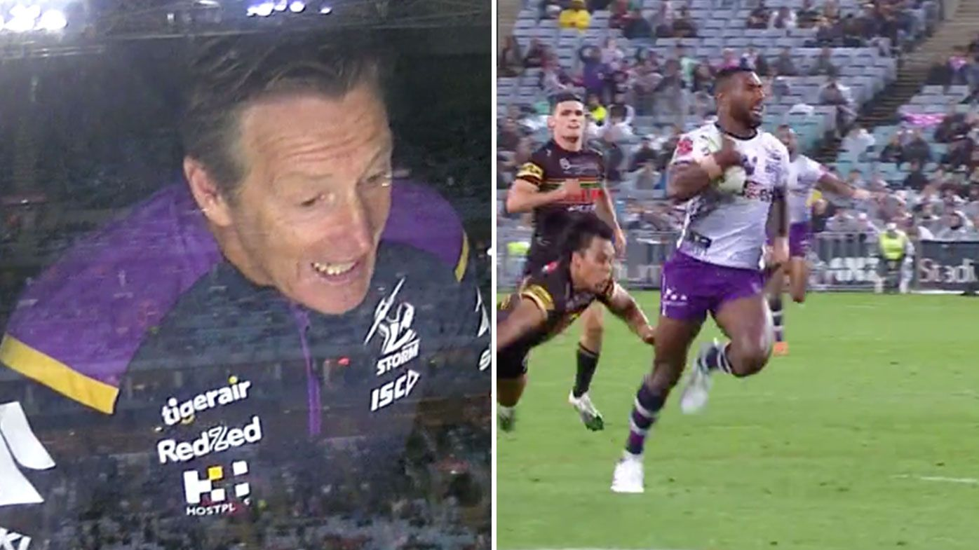 Craig Bellamy rides home Suliasi Vunivalu intercept try after Nathan Cleary error