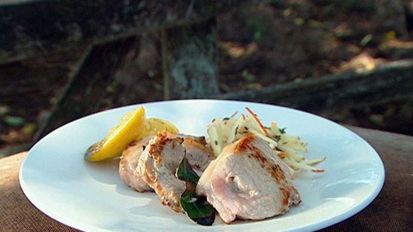 Barbecued lemon & garlic kurobuta pork cutlets