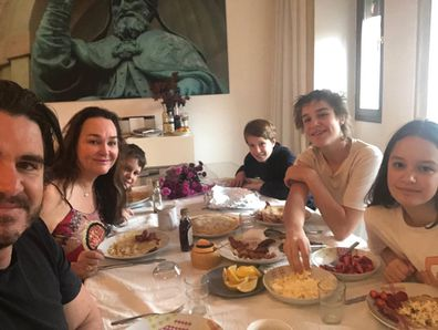 Kate Langbroek with her family